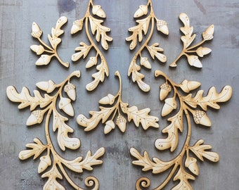 A double set of 14 Natural Oak Leaf and Acorn Motifs ( no holes)  Free U.K. Delivery