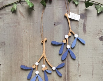 A Pair of Beautiful Hand Painted Birchwood Mistletoe Decorations in Soft Inky Blues