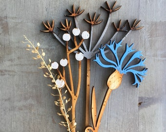Hand Painted Flowers - Cow Parsley, Berries and Cornflower