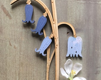 Wooden Flowers. Beautiful Hand Painted Birchwood Flowers - A Bluebell with Fritillary