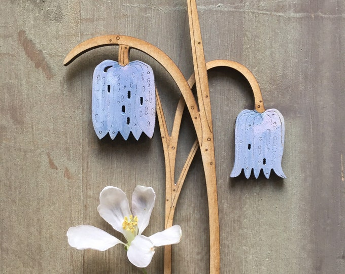 Featured listing image: Wooden Flowers. Beautiful Hand Painted Birchwood Flowers - Fritillaries