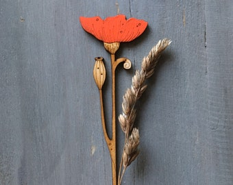 Hand Painted Birchwood Poppy Stem in Red