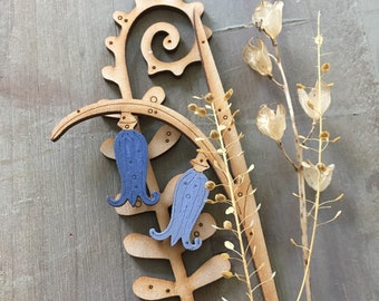 Wooden  Flowers - A Single Birchwood Fern with a Pretty Hand Painted Bluebell
