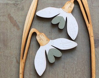 Wooden Flowers. Hand Painted Birchwood Flowers - A Pair of Beautiful Snowdrops in Classic Scandi White and Soft Sage