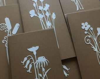 Paper Cuts English Meadow Flower Card Set with Free U.K. Delivery