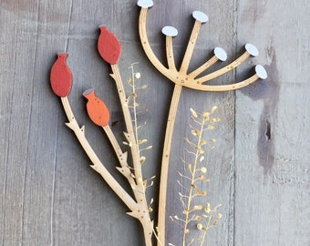 Hand Painted Flowers- Birchwood Rosehips with Cow Parsley