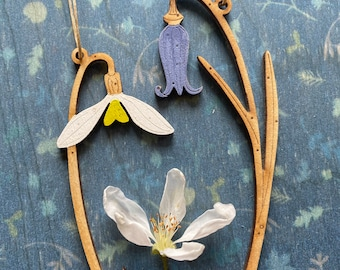 Wooden Flowers. Beautiful Hand Painted Birchwood Flowers - Soringtime! A Mini Snowdrop with a Mini Bluebell