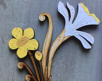 Hand Painted Birchwood Flowers - Daffodil and Buttercup