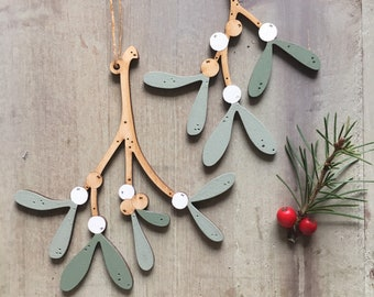 A Pair of Beautiful Hand Painted Birchwood Mistletoe Decorations in  Soft Greens