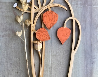 Hand Painted Birchwood Flowers- Beautiful Chinese Lantern Plants with Cow Parsley
