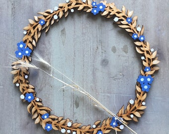 Beautiful Hand Painted Birchwood Wreath in Forget - me -Not Blue