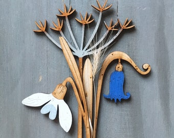 Wooden Flowers - Hand Painted Birchwood Cow Parsley, Snowdrop and Bluebell