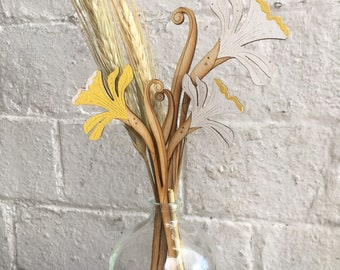 Hand Painted Wooden Flowers - A Pair of Spring Daffodils, one white , one yellow