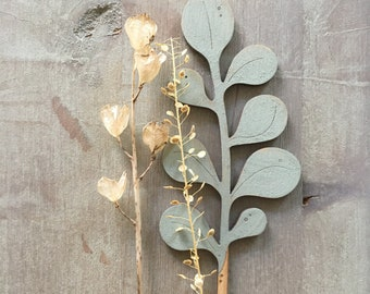 Wooden Flowers. Beautiful Hand Painted Birchwood Flowers - A Leafy Eucalyptus Stem in Soft Sage Green