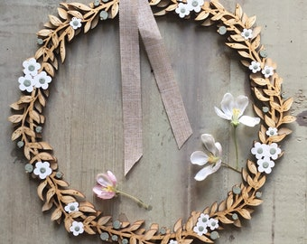 PRE ORDER ONLY - A Beautiful Hand Painted Birchwood Floral Wreath in White /Sage Green
