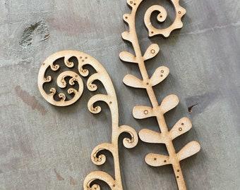 Wooden  Flowers - A Pair of Birchwood Ferns