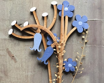 Hand Painted Flowers- Beautiful Birchwood Bluebells, Forget me Nots,  and  a Bubbly Cow Parsley Stem