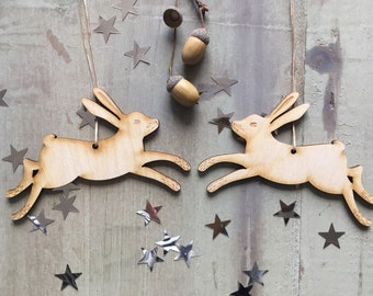 A Pair of Laser Cut Birchwood Hares With  Free U.K. Delivery