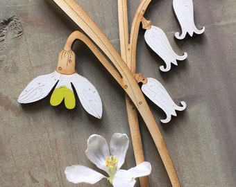 Wooden Flowers. Beautiful Hand Painted Birchwood Flowers - Snowdrop and Bluebell in Scandi White with Zesty Spring Green Highlights