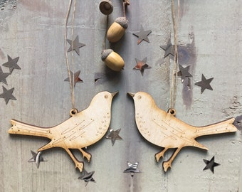 A Pair of Friendly Birchwood Songbirds in  Natural Finish with Free U.k. Delivery