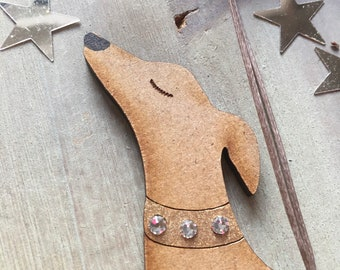 Gorgeous Lurcher / Hound Decoration  with real Swarovski Crystal Collar Free U.K. Shipping