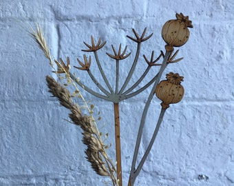 Seed Heads -  Hand Painted Birchwood  Cow Parsley with a Poppy Seed Head