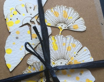 Limited Edition Paper Cuts - Set of 3 Hand Coloured Ginkgo Leaf Cards with Free U.K. delivery