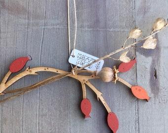 Hand Painted Flowers-  A Beautiful Birchwood Rosehip Stem