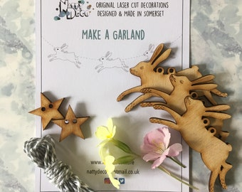 Make a Garland - Seven Mini Birchwood Hares complete with instructions and thread