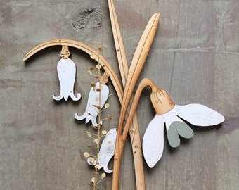 Wooden Flowers. Beautiful Hand Painted Birchwood Flowers - Snowdrop and Bluebell in Scandi White