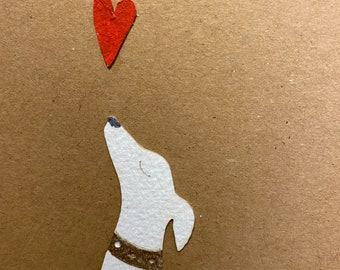 Limited Edition Paper Cuts - A Gorgeous Hound Card with Painted Paper Heart