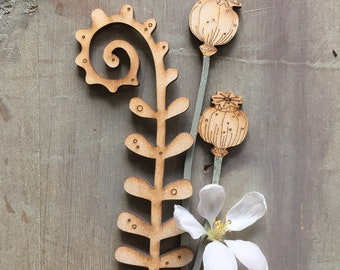 Wooden Flowers. Beautiful Hand Painted Flowers - A Birchwood Poppy Seed Head in Soft Sage with a Fern in Natural Finish