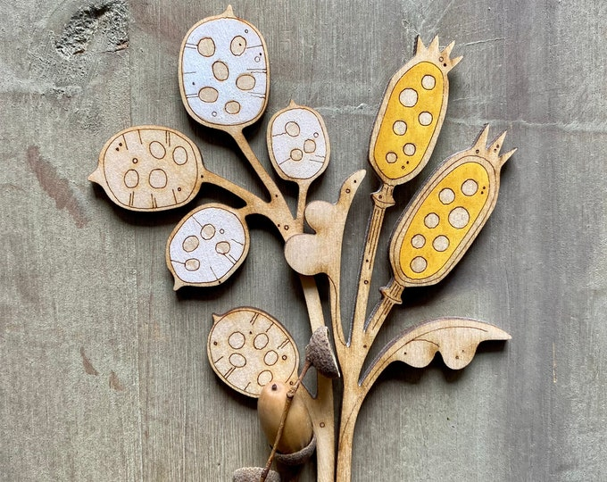 Featured listing image: Hand Painted Wooden Flowers. Autumn Edit - Luminaria Honesty Petals with a Gorgeous Golden Ochre Seedpod