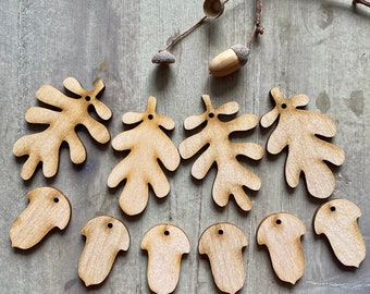 Paint your Own! A Set of 10 Oak Leaf and Acorn Hanging Decorations in Natural Birchwood