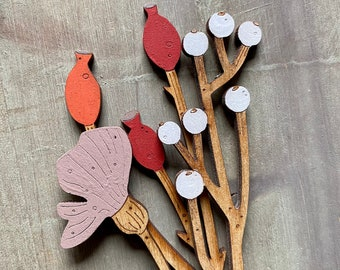 Hand Painted Wooden  Flowers- A Beautiful Birchwood Rosehip Stem with a Scandi White  Berry Stem and Poppy in Soft Blush Pink