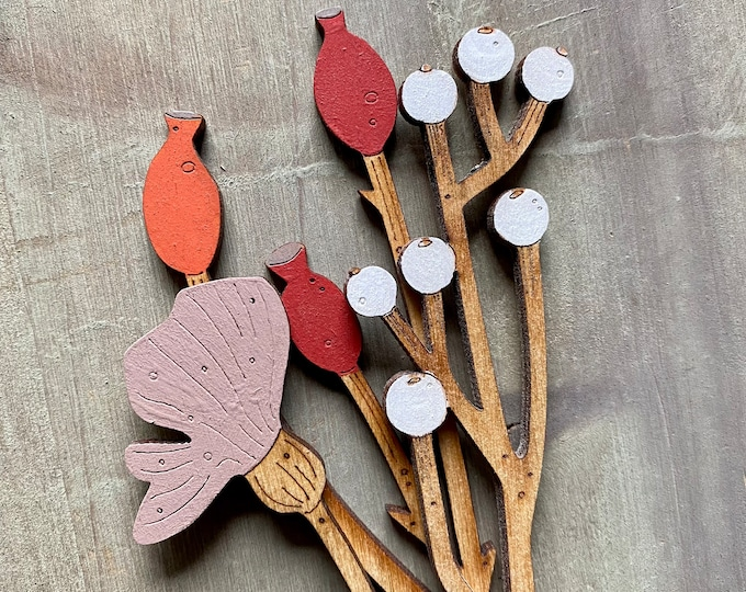 Featured listing image: Hand Painted Wooden  Flowers- A Beautiful Birchwood Rosehip Stem with a Scandi White  Berry Stem and Poppy in Soft Blush Pink