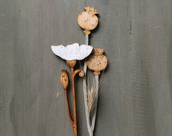 Wooden Flowers - Hand Painted Birchwood Poppies in Soft Sage and Scandi White