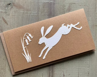 Paper Cut Cards - A Single Somerset Paper Card with Leaping Hare Design