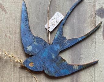 A Somerset Swallow on Printed Birchwood