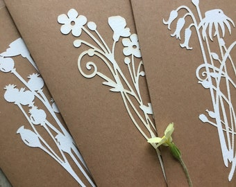 Paper Cuts  - A Set of Three Larger Size Beautiful Somerset Paper Flower Cards