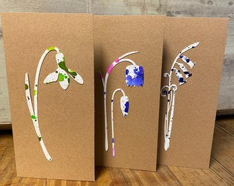 Limited Edition Paper Cuts - A Set of 3 Hand Coloured Floral Motif Cards with Free U.K. delivery