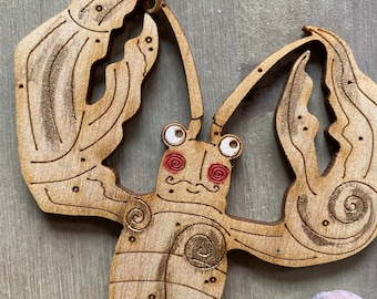Lobster - A Hand Painted Moustachioed Monsieur Lobster Decoration with free UK Delivery