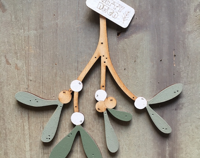 Featured listing image: A Single Sprig of Beautiful Hand Painted Birchwood Mistletoe in Soft Greens PRE ORDER for Delivery end Oct/early November