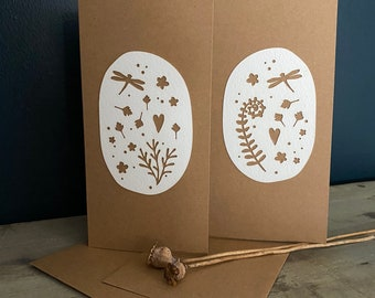 Limited Edition Paper Cuts - A Pair of Gorgeous Dragonfly Cards