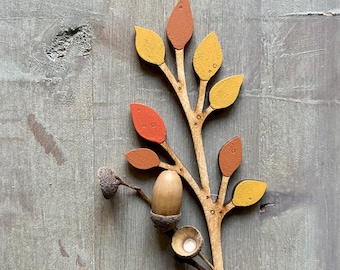 Hand painted Birchwood Flowers - A Leafy Stem in Autumn. Colours