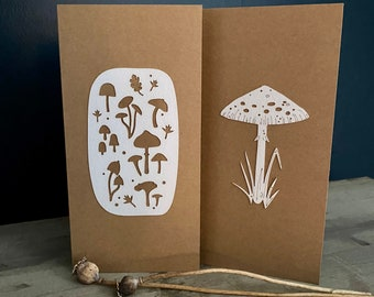 Paper Cuts  - A Pair of Autumnal Themed Cards featuring Beautiful Somerset Paper Toadstool Motifs on Recycled Card
