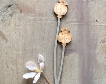 Wooden Flowers. Beautiful Hand Painted Flowers - A Single Birchwood Poppy Seed Head in Soft Sage