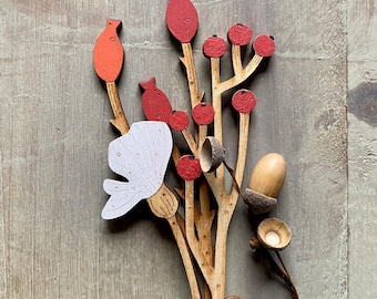 Hand Painted Flowers- A Beautiful Birchwood Rosehip Stem with a Bright Berry Stem and White Poppy