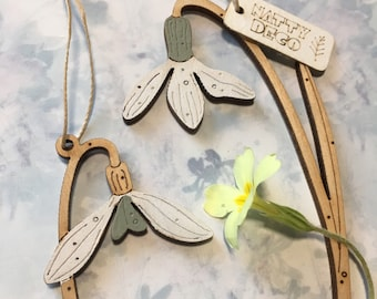 Wooden Flowers. A Pair of Beautiful Hand Painted Snowdrop Decorations