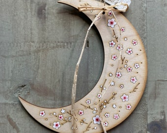 Blossom Moon Hand Painted Birchwood. Free U.k. Delivery